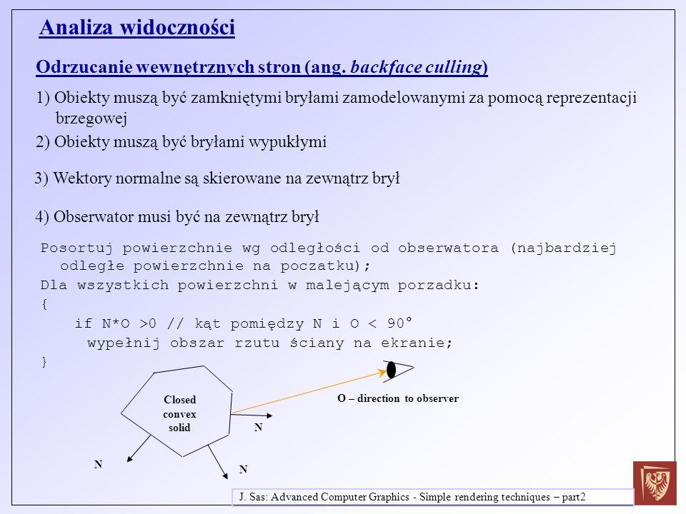 Analiza widoczności Odrzucanie wewnętrznych stron (ang. backface culling)