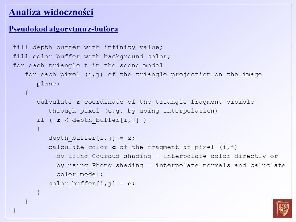 Analiza widoczności Pseudokod algorytmu z-bufora