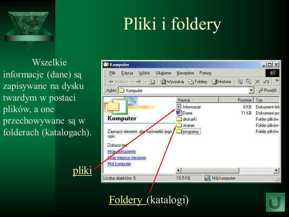 Pliki i foldery Wszelkie informacje (dane) są zapisywane na dysku twardym w postaci plików, a one przechowywane są w folderach (katalogach).