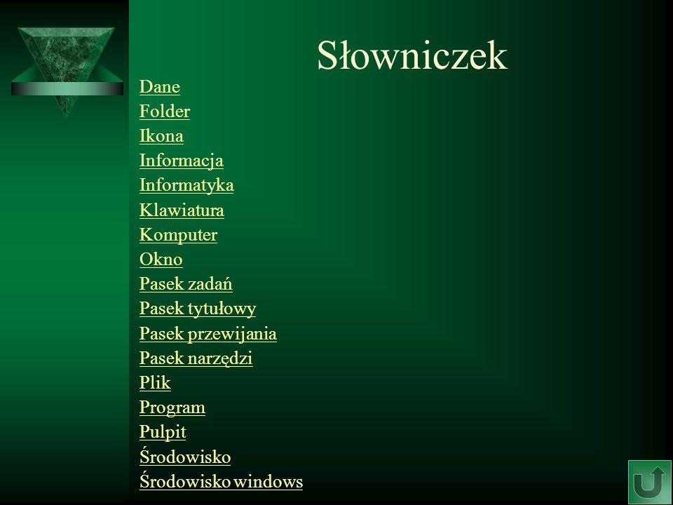 Słowniczek Dane Folder Ikona Informacja Informatyka Klawiatura
