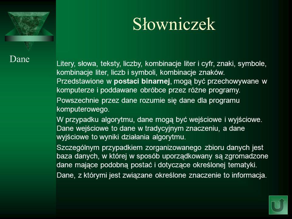 Słowniczek Dane.