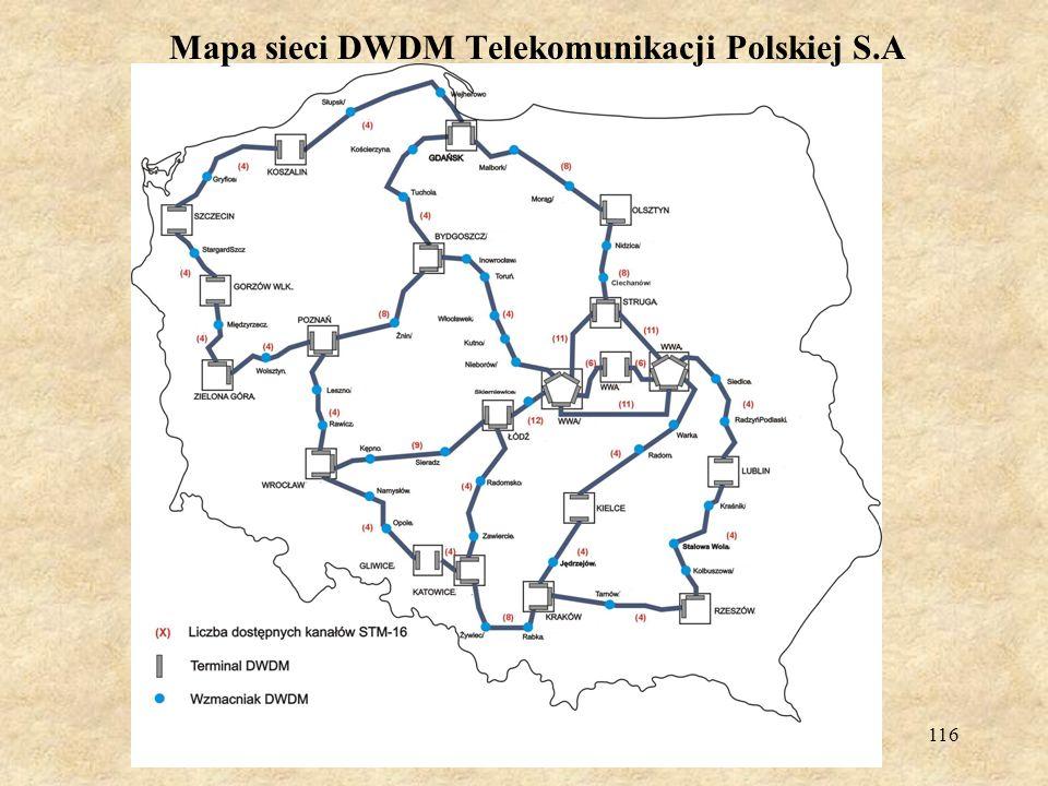 Mapa sieci DWDM Telekomunikacji Polskiej S.A