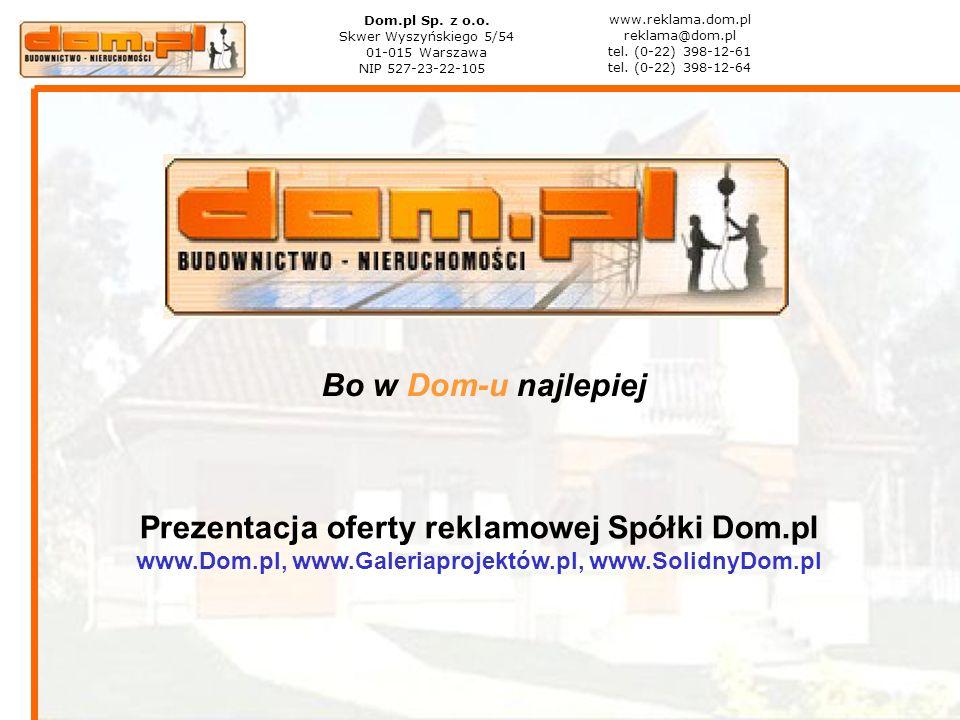 Bo w Dom-u najlepiej Prezentacja oferty reklamowej Spółki Dom.pl