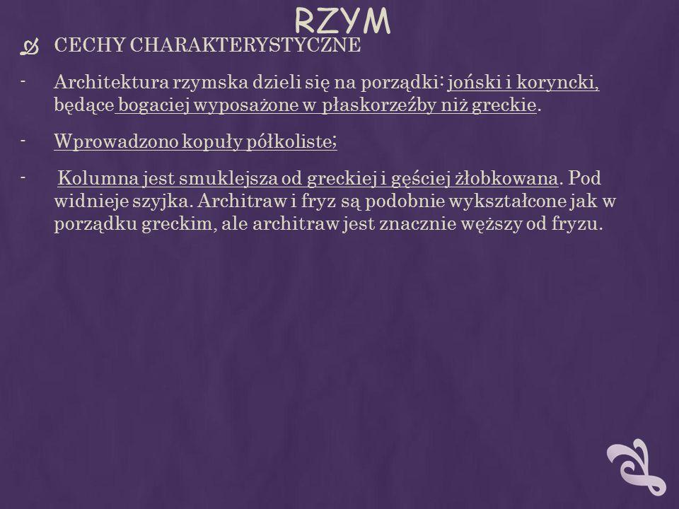 RZYM CECHY CHARAKTERYSTYCZNE