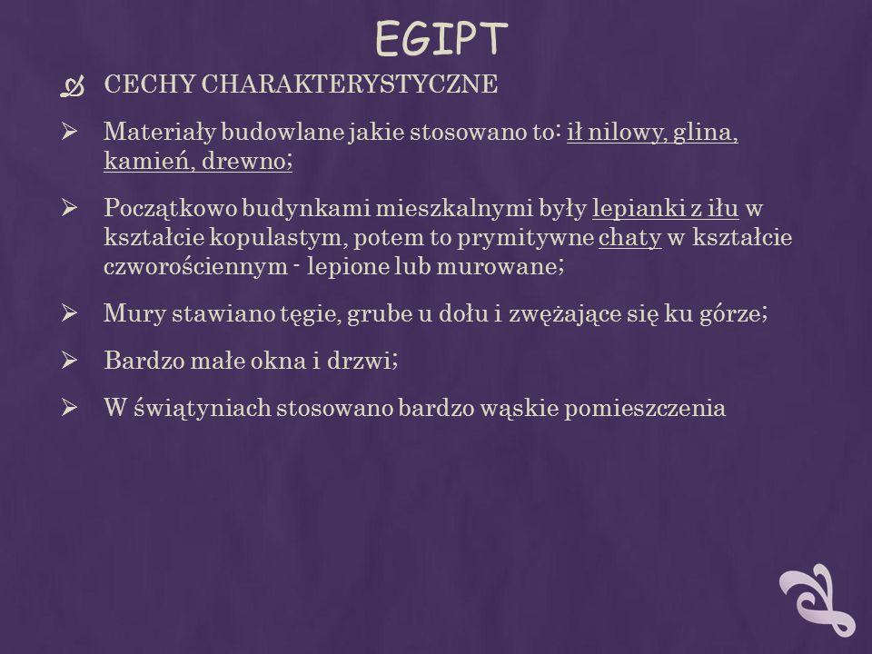 EGIPT CECHY CHARAKTERYSTYCZNE