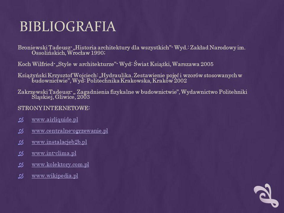 """BIBLIOGRAFIA Broniewski Tadeusz- """"Historia architektury dla wszystkich - Wyd.: Zakład Narodowy im. Ossolińskich, Wrocław 1990;"""