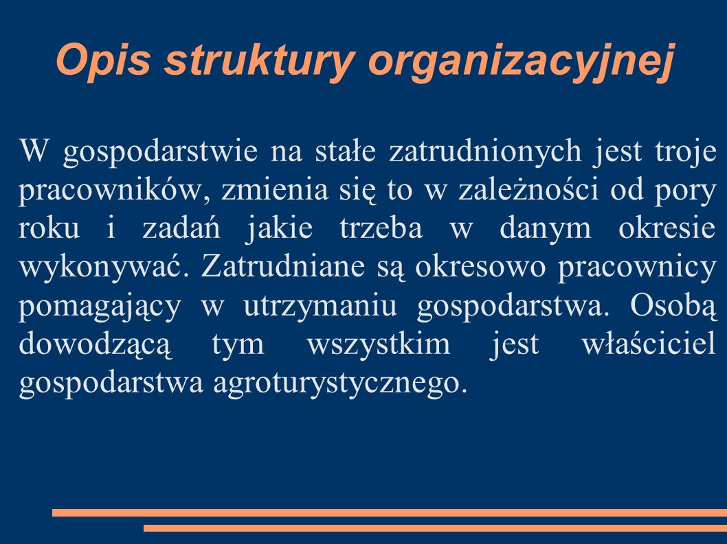 Opis struktury organizacyjnej