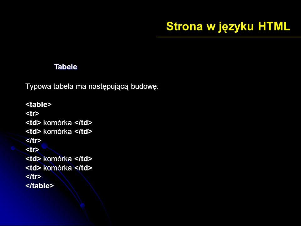 Strona w języku HTML Tabele Typowa tabela ma następującą budowę: