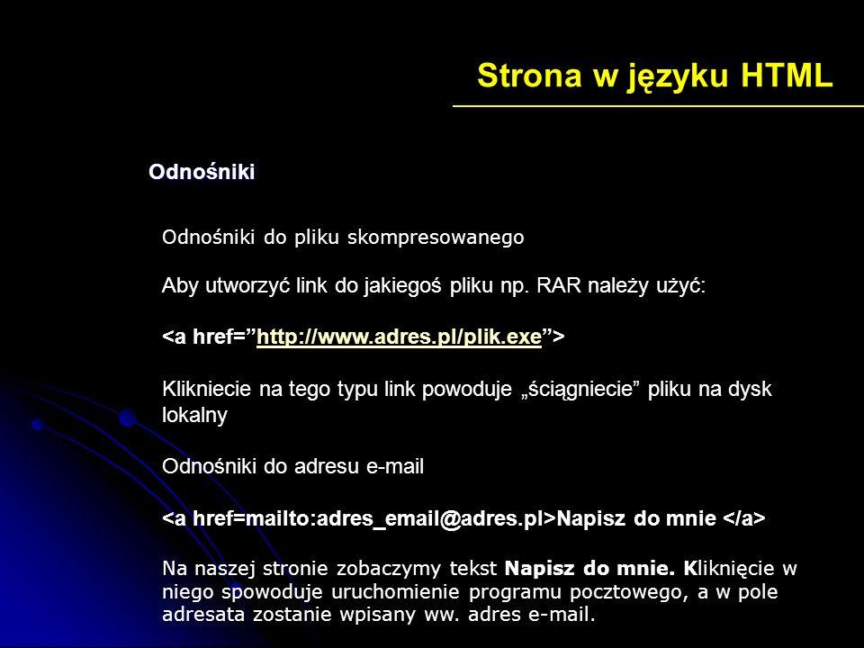 Strona w języku HTML Odnośniki