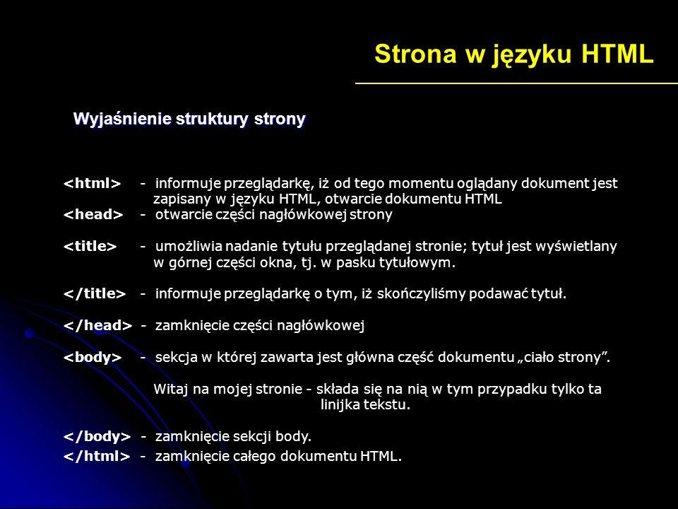 Strona w języku HTML Wyjaśnienie struktury strony