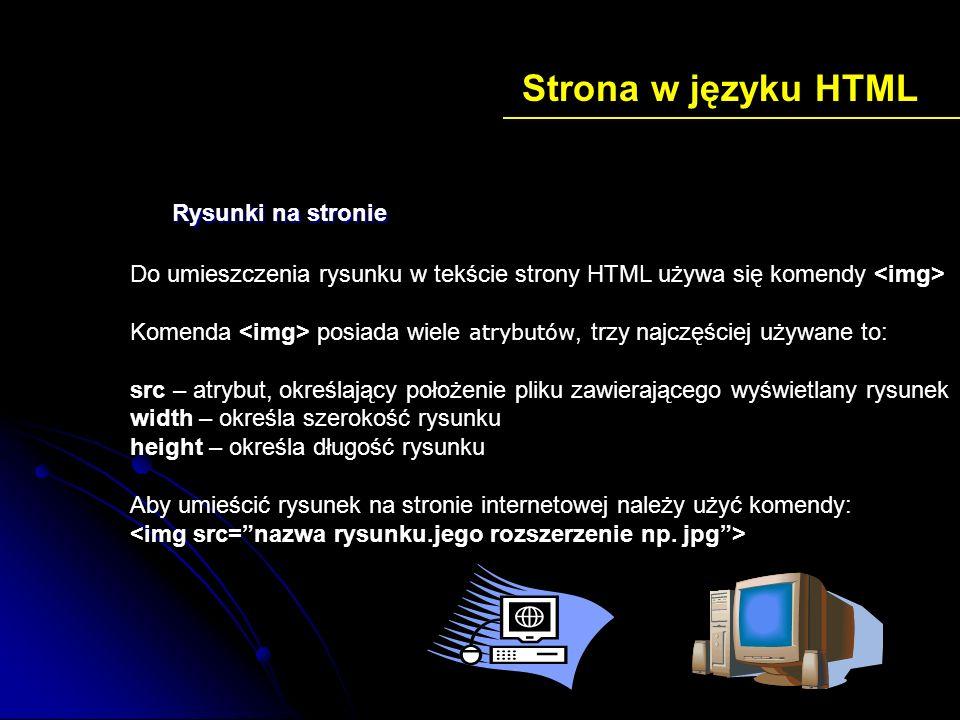 Strona w języku HTML Rysunki na stronie