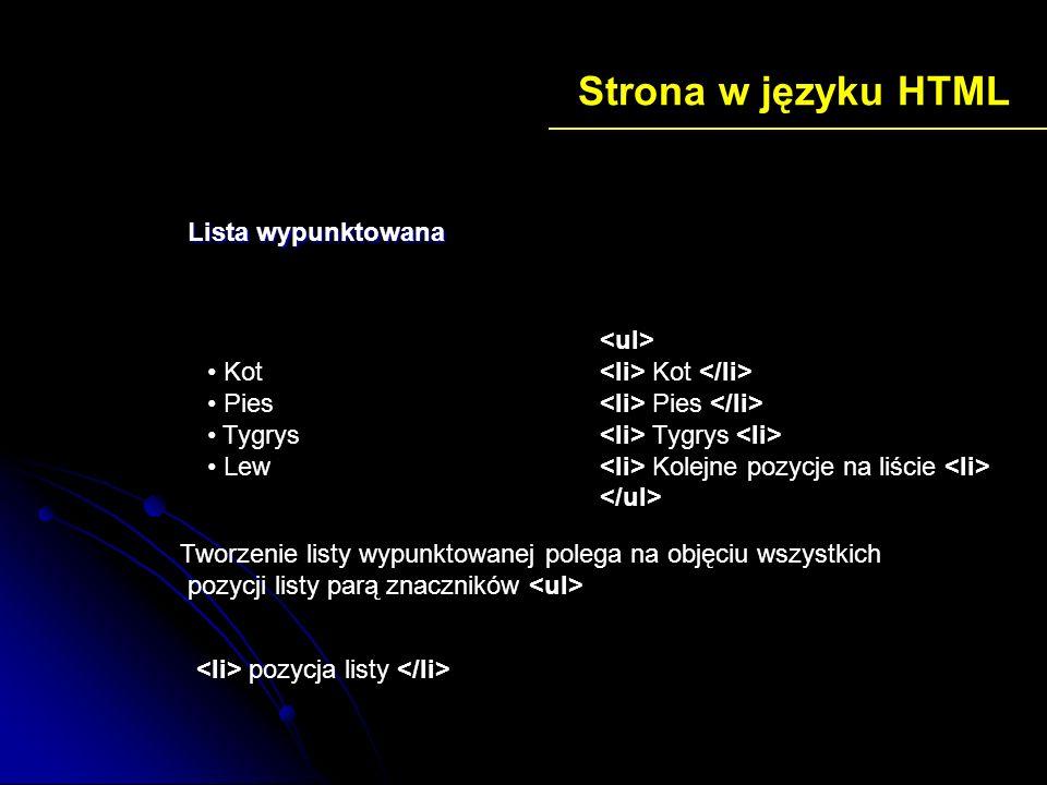 Strona w języku HTML Lista wypunktowana Kot Pies Tygrys Lew <ul>