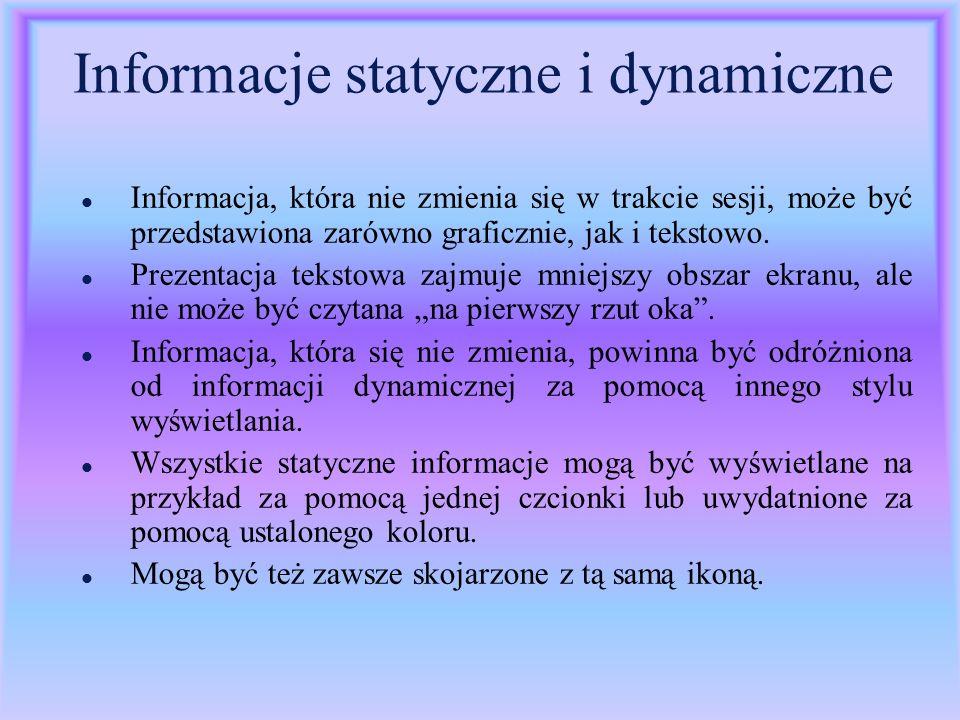 Informacje statyczne i dynamiczne