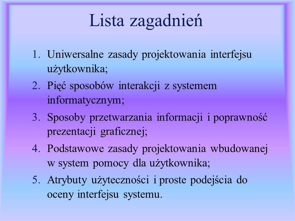 Lista zagadnień Uniwersalne zasady projektowania interfejsu użytkownika; Pięć sposobów interakcji z systemem informatycznym;