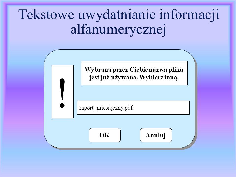 Tekstowe uwydatnianie informacji alfanumerycznej