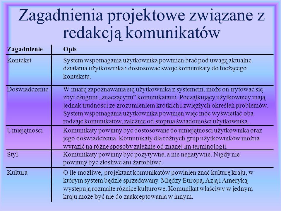 Zagadnienia projektowe związane z redakcją komunikatów