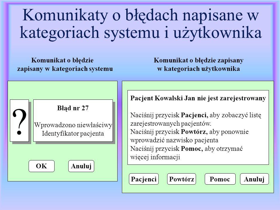 Komunikaty o błędach napisane w kategoriach systemu i użytkownika