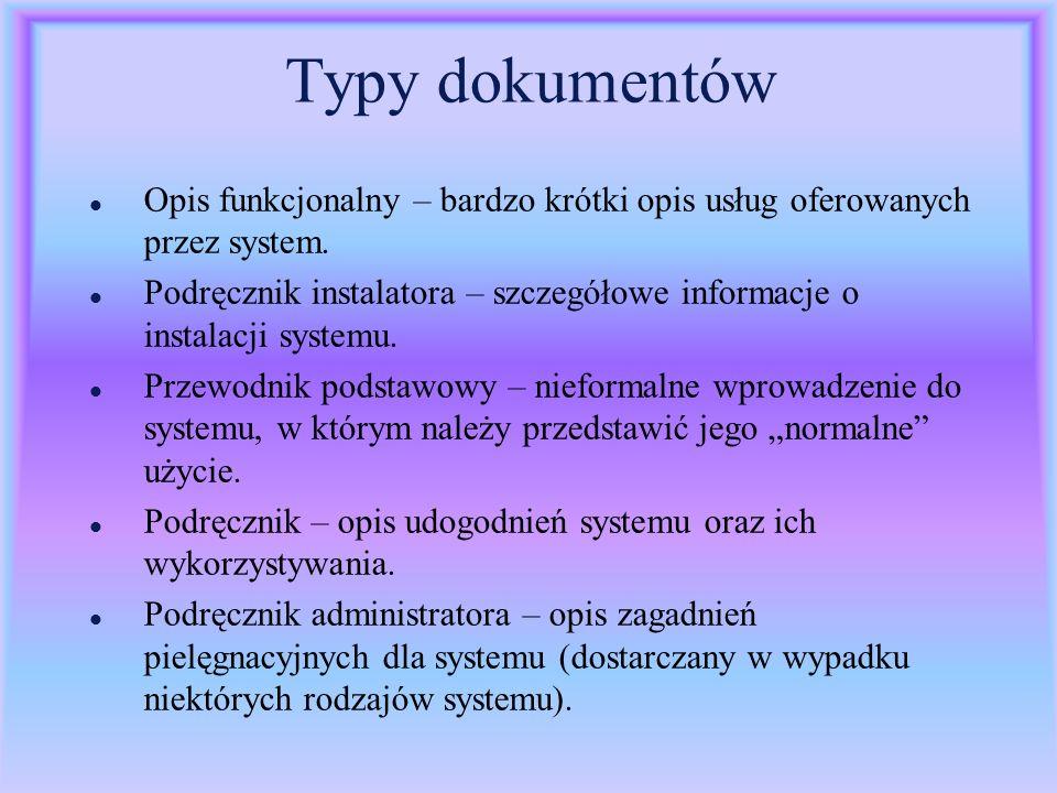 Typy dokumentów Opis funkcjonalny – bardzo krótki opis usług oferowanych przez system.