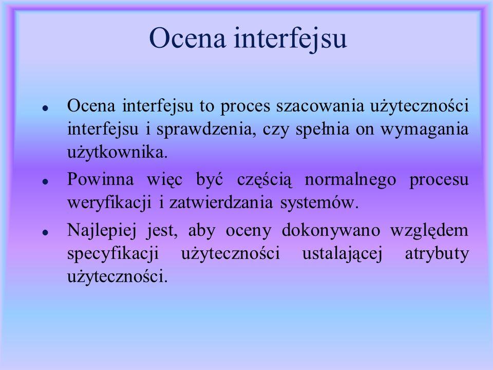 Ocena interfejsu Ocena interfejsu to proces szacowania użyteczności interfejsu i sprawdzenia, czy spełnia on wymagania użytkownika.