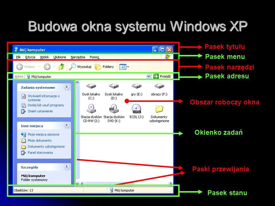 Budowa okna systemu Windows XP
