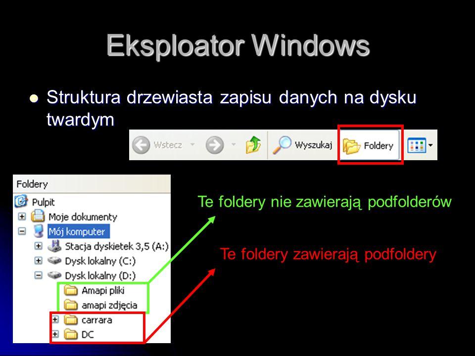 Eksploator Windows Struktura drzewiasta zapisu danych na dysku twardym