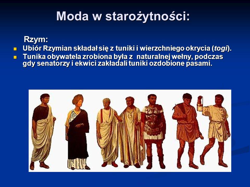 Moda w starożytności: Rzym: Ubiór Rzymian składał się z tuniki i wierzchniego okrycia (togi).