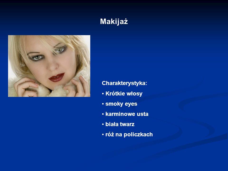 Makijaż Charakterystyka: Krótkie włosy smoky eyes karminowe usta