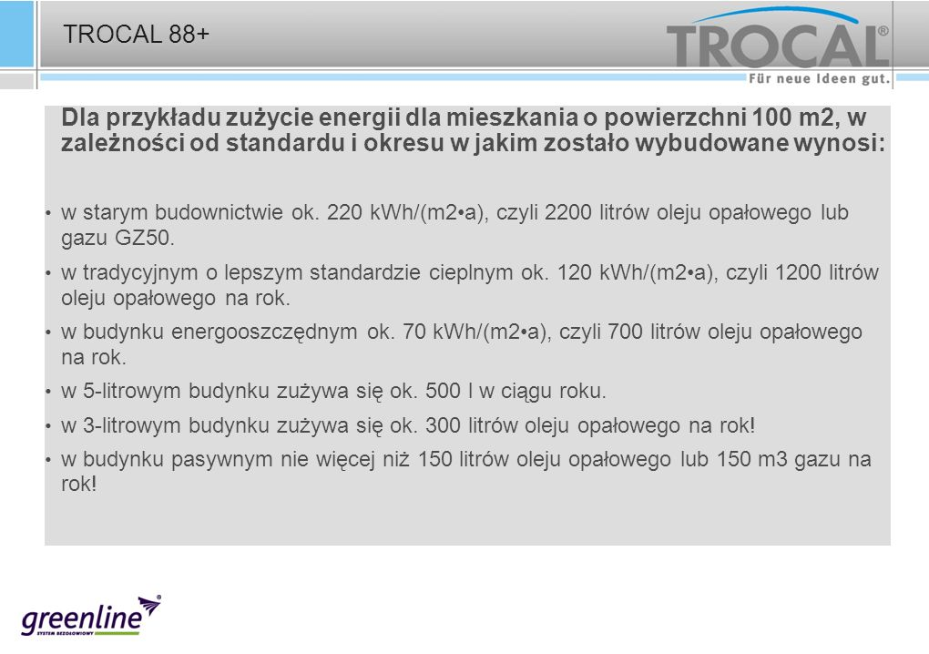 TROCAL 88+ Dla przykładu zużycie energii dla mieszkania o powierzchni 100 m2, w zależności od standardu i okresu w jakim zostało wybudowane wynosi: