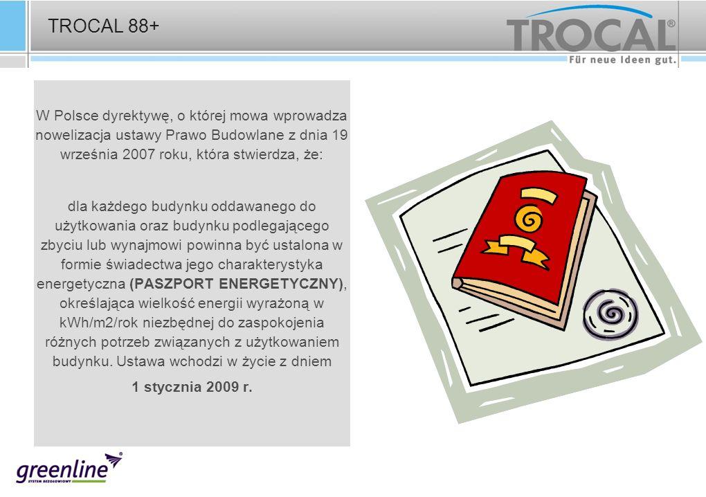 TROCAL 88+ W Polsce dyrektywę, o której mowa wprowadza nowelizacja ustawy Prawo Budowlane z dnia 19 września 2007 roku, która stwierdza, że: