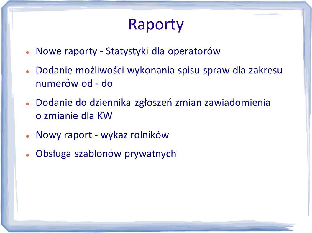 Raporty Nowe raporty - Statystyki dla operatorów