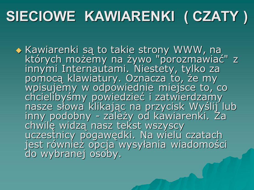 SIECIOWE KAWIARENKI ( CZATY )