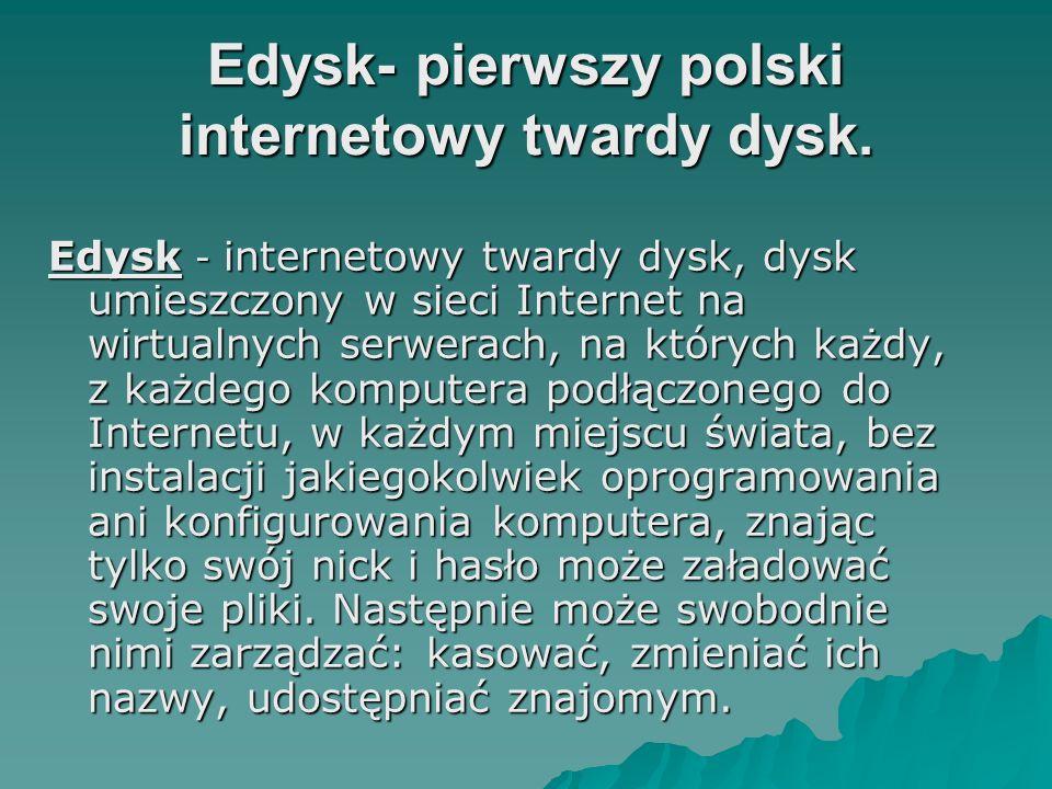 Edysk- pierwszy polski internetowy twardy dysk.