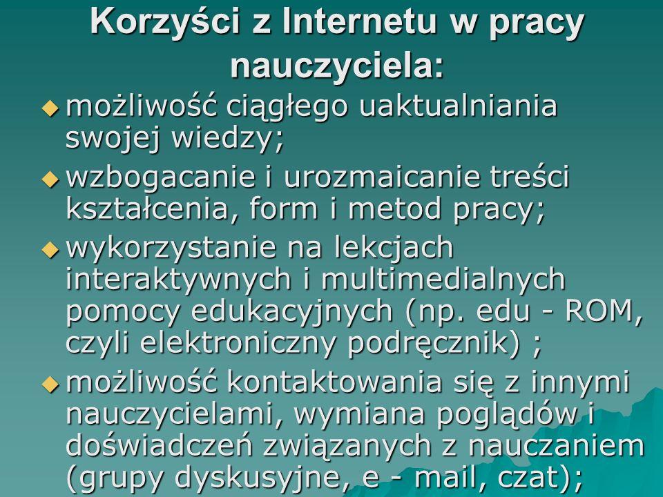 Korzyści z Internetu w pracy nauczyciela: