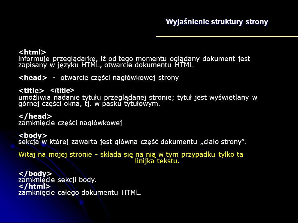 Wyjaśnienie struktury strony
