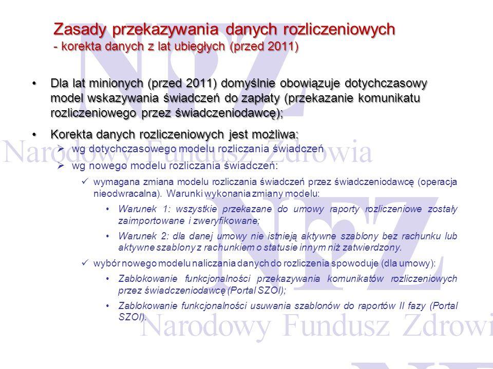 Zasady przekazywania danych rozliczeniowych - korekta danych z lat ubiegłych (przed 2011)