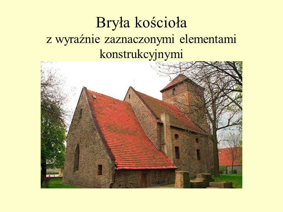 Bryła kościoła z wyraźnie zaznaczonymi elementami konstrukcyjnymi