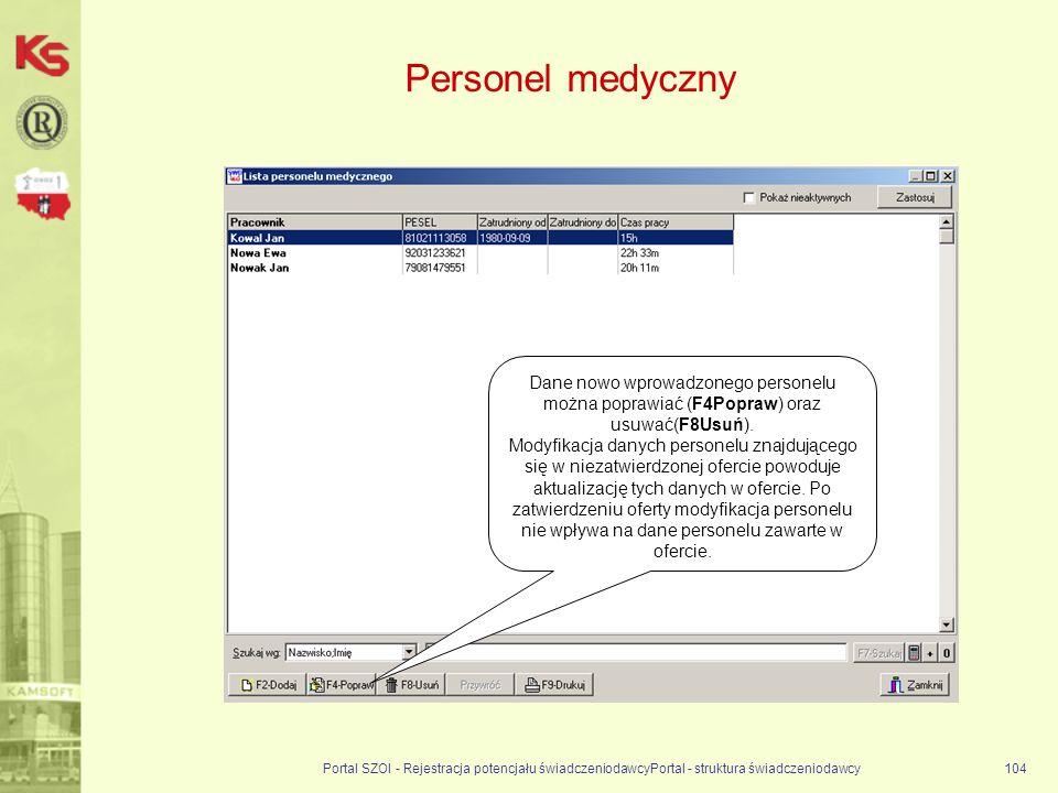 Personel medyczny Dane nowo wprowadzonego personelu można poprawiać (F4Popraw) oraz usuwać(F8Usuń).