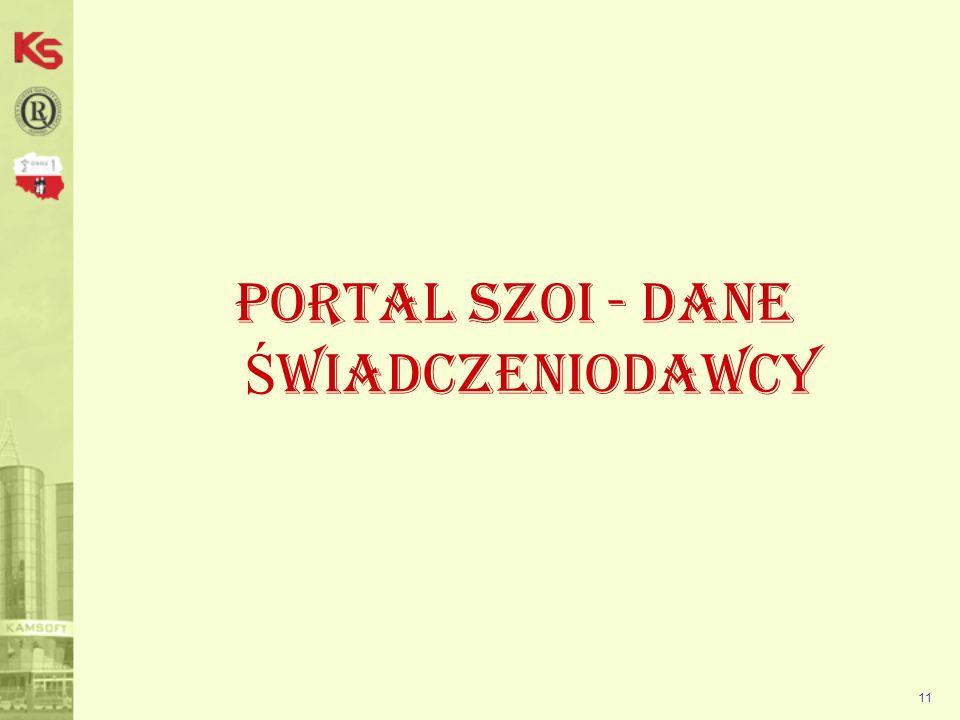 Portal SZOI - DANE ŚWIADCZENIODAWCY
