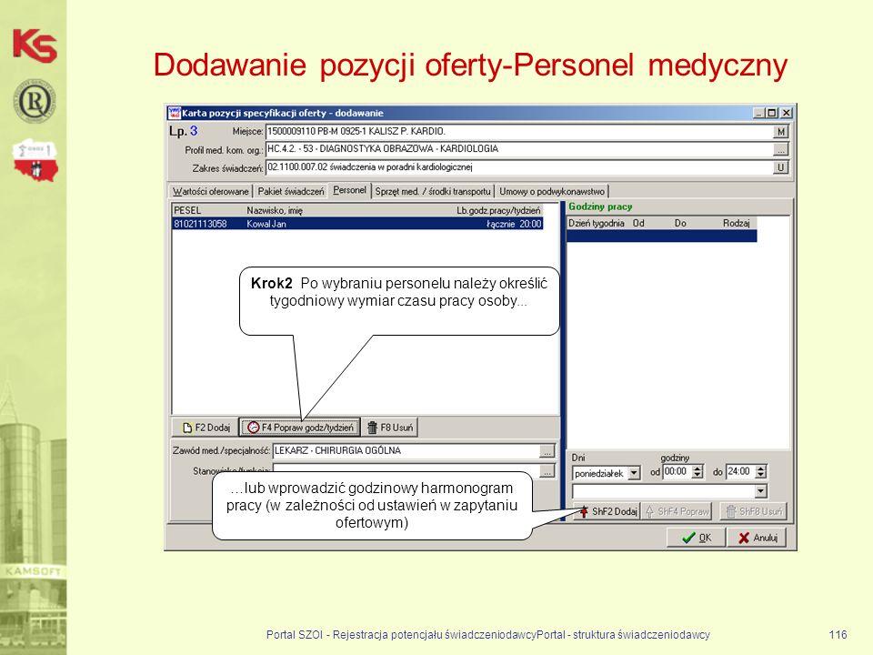 Dodawanie pozycji oferty-Personel medyczny