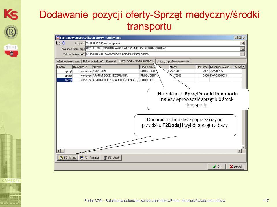 Dodawanie pozycji oferty-Sprzęt medyczny/środki transportu