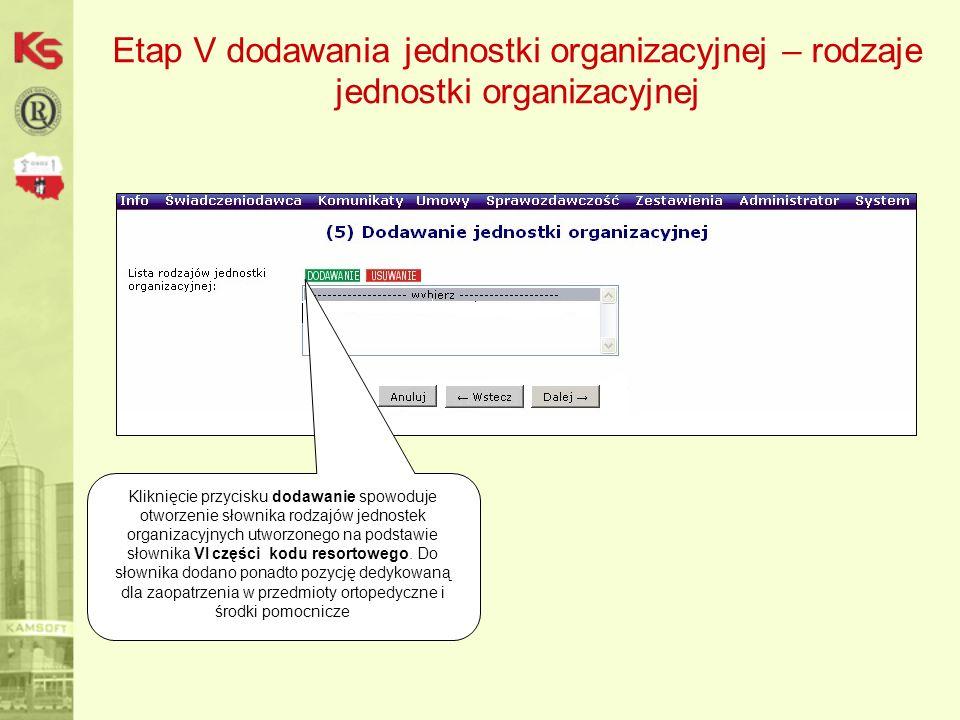 Etap V dodawania jednostki organizacyjnej – rodzaje jednostki organizacyjnej