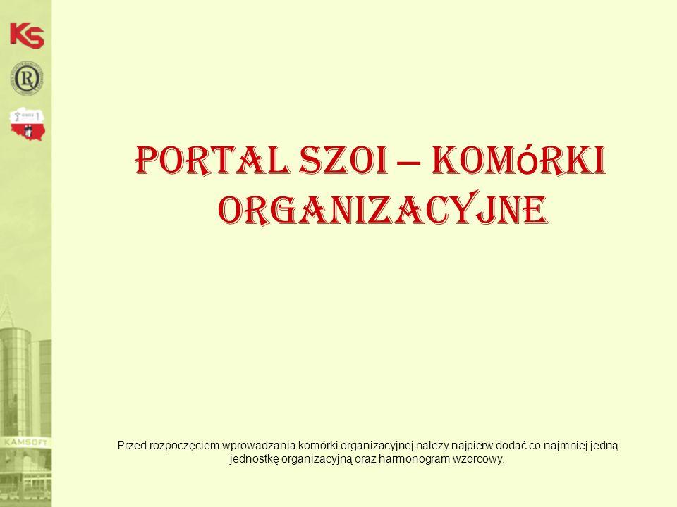 Portal SZOI – komórki organizacyjne