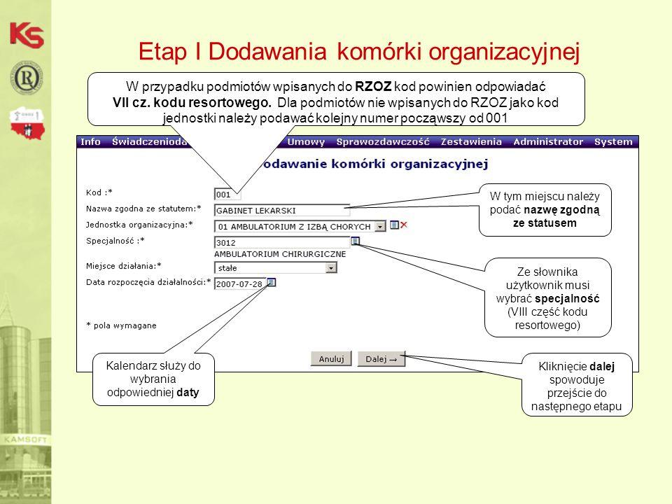 Etap I Dodawania komórki organizacyjnej