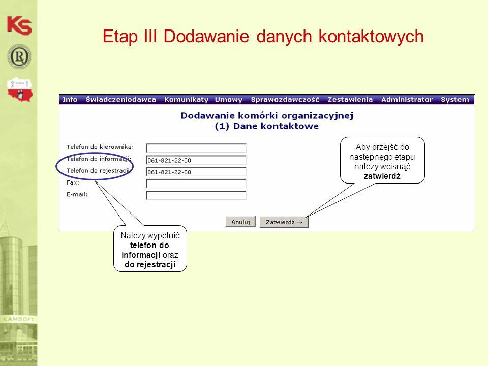 Etap III Dodawanie danych kontaktowych