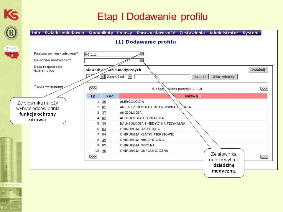 Etap I Dodawanie profilu