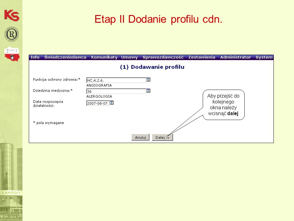 Etap II Dodanie profilu cdn.