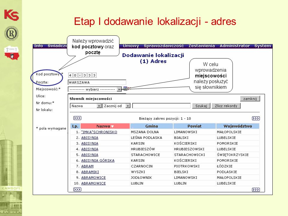 Etap I dodawanie lokalizacji - adres