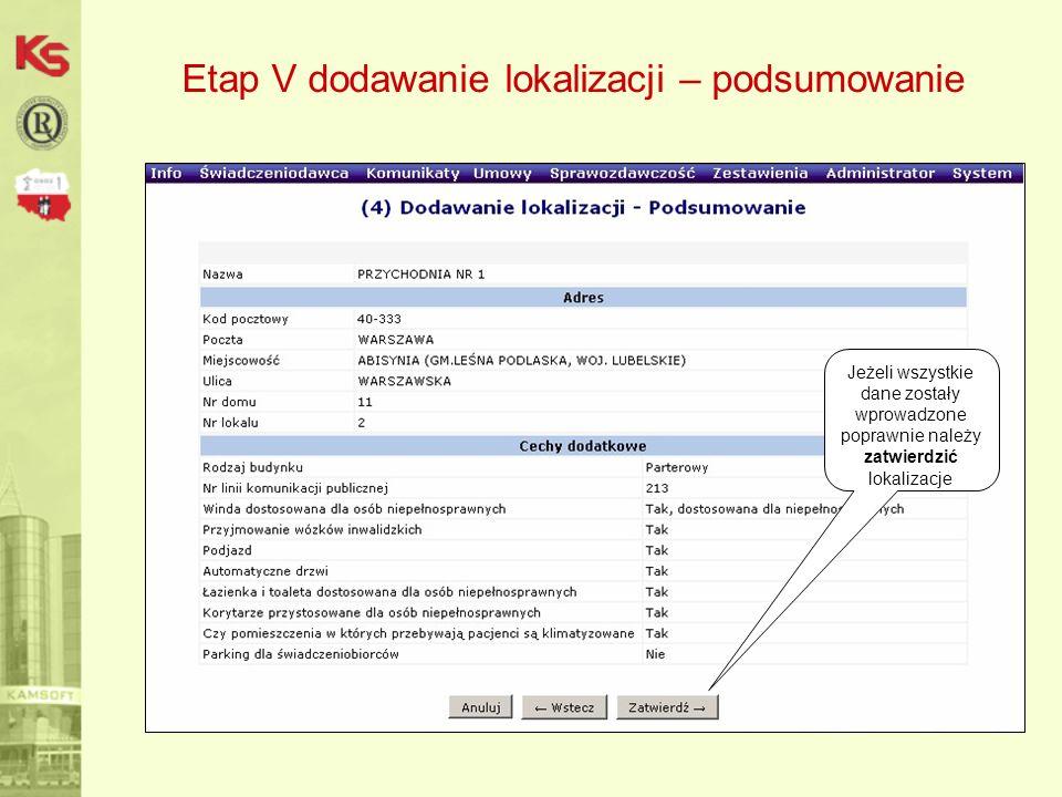 Etap V dodawanie lokalizacji – podsumowanie