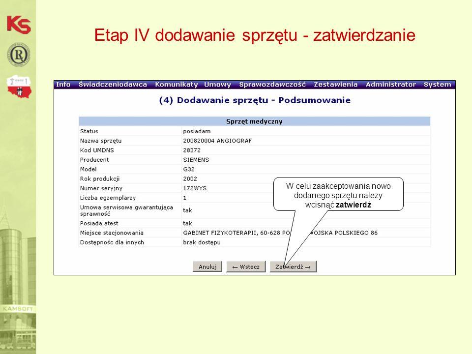 Etap IV dodawanie sprzętu - zatwierdzanie