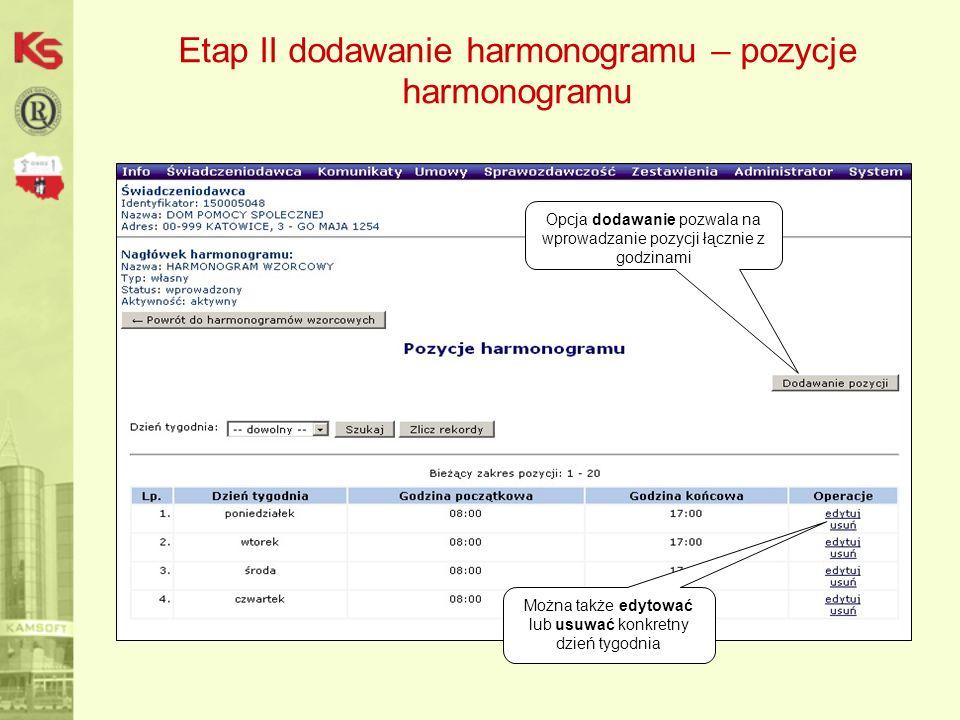 Etap II dodawanie harmonogramu – pozycje harmonogramu